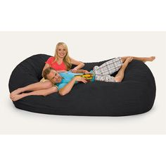 Black Microfiber And Memory Foam Bean Bag Chair (8u0027 Oval)
