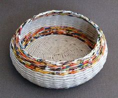 Weaving Baskets With Newspaper