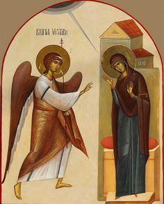 Annunciation by Ioan-si-Camelia-Popa-Otopeni Byzantine Icons, Byzantine Art, Religious Images, Religious Icons, Italian Renaissance Art, Roman Church, Angel Statues, Madonna And Child, Art Icon
