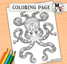 Octopus Coloring Page - Nautical Lotus Flower Sea Life Coloring Page - Instant Digital Download of Printable Coloring Page for Kids & Adults by MetWhimDigital on Etsy https://www.etsy.com/uk/listing/249917866/octopus-coloring-page-nautical-lotus