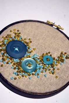 button growth embroidered wall hanging