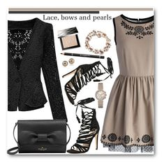 """""""Lace, Bows and Pearls"""" by brendariley-1 ❤ liked on Polyvore featuring Chicwish, WithChic, Kate Spade, Carolee, Bulova, Alexa Starr, Burberry, Givenchy, women's clothing and women"""