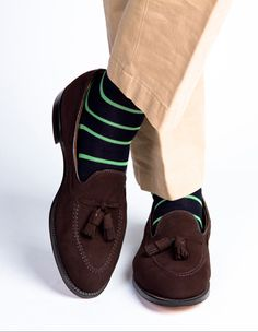 men's navy socks with green stripe