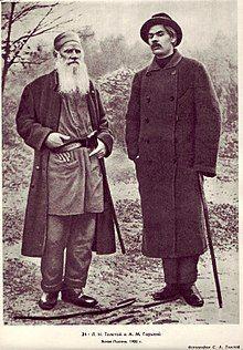 Leo Tolstoy with Maxim Gorky, Yasnaya Polyana, 1900