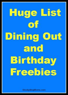 Dining Out and Birthday Freebies