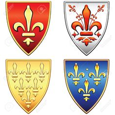 Buy Vector French Shields with Arms of Fleur de Lis by Kavalenkava on GraphicRiver. Traditional old shields with the arms of France and Florence, lily (fleur de lis) in blue, red, gold, silver backgrou. Crest Tattoo, Cool Coats, Coat Of Arms, Vector Art, Royalty Free Stock Photos, Traditional, Antiques, Illustration, Red Gold