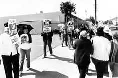 United Auto Workers Local 645 went on strike against the Van Nuys General Motors plant in 1983. The plant had implemented frequent layoffs since its opening in 1948. Financial difficulties eventually forced its closure in 1992. Robert and Betty Franklin Collection. San Fernando Valley History Digital Library.