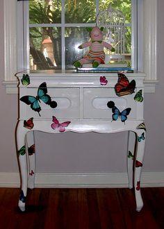 Decoupage'd Butterfly Nightstand