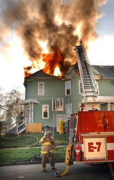 Fire extending through the attic. Bloomington FD, IL #Setcom #Fire http://www.setcomcorp.com/headsets.html