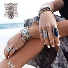 Retro Punk Midi Ring Boho Gypsy Ethnic Carved Antique Silver Plated Ring