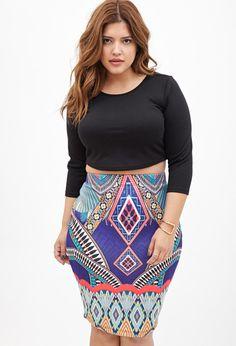 Abstract Print Pencil Skirt #F21Plus