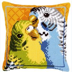 "Vervaco BUDGIES Chunky Cross Stitch Cushion Front Kit 16"" x 16"""