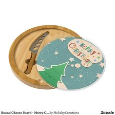 Round Cheese Board - Merry Christmas, Trees