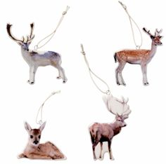 Porselen med trykk av hjort. 10 x 8 -11 x 5 x o,4 cm. Trykk på den ene siden. Velg mellom fire ulike motiv. Fine som julepynt på tre og pakker.  1. Hjort med stort gevir  2. Hjort med lite gevir  3. Hjort liggende  3. Hjort stående