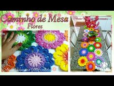 Caminho de Mesa de Crochê em Flores Barroco max Color. Tutorial de decoraçao por Vanessa Marcondes . - YouTube