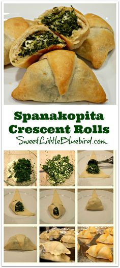 Spanakopita Crescent Rolls - One of my new favorite recipies! Note to self: thaw out spinach long before cooking. Think Food, I Love Food, Good Food, Yummy Food, Crescent Roll Recipes, Crescent Rolls, Vegetarian Recipes, Cooking Recipes, Healthy Recipes