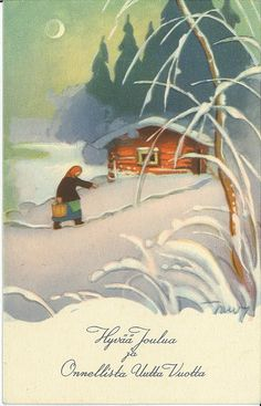Martta Wendelin - Christmas card - Saunavettä Vintage Christmas Cards, Xmas Cards, Holiday Cards, Christmas Houses, Christmas Past, Fairy Tale Images, Childrens Christmas, Winter Beauty, Christian Art