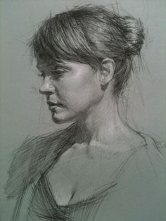 Daniel Bilmes, female portrait drawing