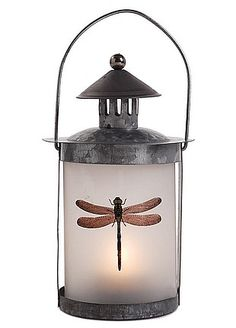 livingExclusive — Shabby Chic Decor — Metal Lantern With Glass Dragonfly Decal