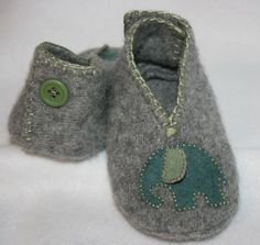 Felted baby booties from old sweaters