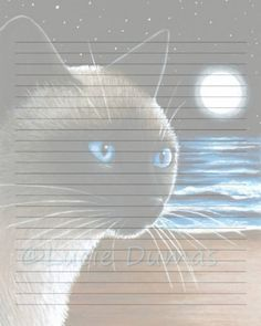 Digital Printable Journal Page Cat 396 siamese moon ocean Stationary 8x10 Download Scrapbooking Paper Template art painting L.Dumas by DigitalsbyLucie on Etsy