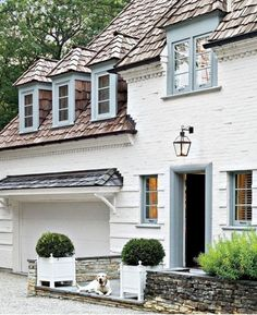 49 Chic Spaces with Dogs LuxeDaily - Design Insight from the Editors of Luxe Interiors + Design French Country Farmhouse, French Country Style, Farmhouse Design, French Country Exterior, French Cottage, Farmhouse Style, Exterior Paint, Exterior Design, Interior And Exterior