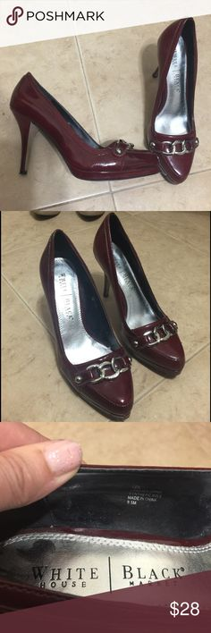 "WHBM Wine Maroon Platform Loafer Pumps Heels 9.5 Label- White House Black Market Style- ""Lea""High Stiletto Heel Loafer Pumps Heels with Platform. Silver Chain Toe Accent, Super Sexy!   Size- 9.5 Heel Height- 4 inches, 1/2 inch platform Color-Wine Fabric- Manmade Patent Leather Condition-Worn twice, Excellent Used Condition, upper, footbed, heels and heel tips are perfect, wear on bottom Origin-China I have 4 pair of heels from this same friend for sale that are all basically the same shoe…"