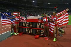 US Women's Track and Field Olympic Medal Wins Gold & World Record!