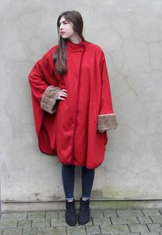 Vintage 1970's Scarlet Red Cape Coat with Fur Cuffs