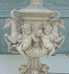 Large Cherub Horse and Fish Lamp Italian Greek Style 1932