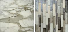 "Our new ""Weave Stix"" glass Mosaic paired with Calacata Fabricotti Marble - yummy!"