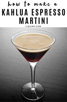 The Kahlua Espresso Martini is a vodka martini that is an after dinner favorite. To make this simple and delicious cocktail all you'll need Kahlua, vodka, and brewed espresso. Kahlua Recipes, Vodka Recipes, Martini Recipes, Alcohol Drink Recipes, Cocktail Recipes Espresso Martini, Fruit Drinks, Dessert Drinks, Yummy Drinks, Beverages
