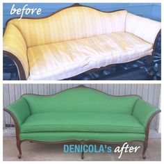 This camelback sofa reupholstered in kelly green linen is all the things and more.  Color perfection.  www.denicolasbr.com