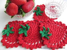'Red Strawberry Coaster' Simple Tutorial