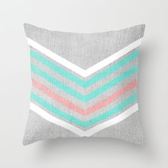 Teal, Pink and White Chevron on Silver Grey Wood Throw Pillow by Tangerine-Tane - $20.00