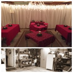 "Garage to temporary dining room!  Needed more room for thanksgiving dinner!  2 car garage - not emptied - seated comfortably 24 - could have been more with longer tables.   Used ""curtains"" to hide everything.  Curtains were bulk sheets from Amazon - using safety pins attached to 97c shower curtain rings which were hung on leftover bamboo from the garden attached to the ceiling with zip ties and screw eyes.   Decorated with icicle lights. Centerpiece was a hula hoop wrapped in icicle lights."