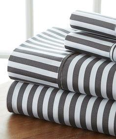 Another great find on #zulily! Gray Stripe Becky Cameron™ Premium Four-Piece Sheet Set by iEnjoy Bedding #zulilyfinds