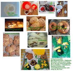 Schneckennudeln, umgedrehter Mini-Marmorkuchen, giftgrünes Minzgelee und zuckersüße Zimtbirnen