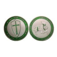 1oz silver plated Templars Knights Coin,Freemasons Templars Knights Green Cross Color Silver Plated Coin