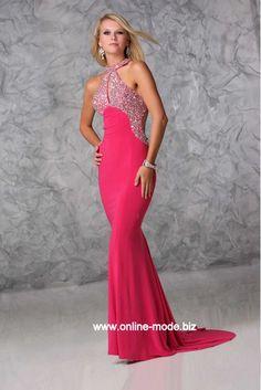 Gala Kleid Abendkleid in Pink mit Pailetten Stickereien von www.online-mode.biz