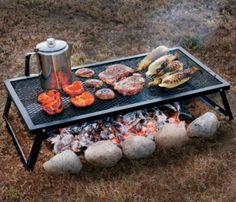"""Drive the 24"""" steel post into the ground near the fire pit, the grill then slides over the post using a steel sleeve and stopcork adjustment. Simply loosen to raise or lower, or spin away from the fire for complete temperature control. Solid all-steel construction. 10 oz canvas storage bag/pot holder included. Grilling surface: 16"""" x 16"""". Weight: 10 lbs."""