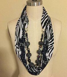 New Handmade Black and White Infinity Scarf With Beads #Handmade