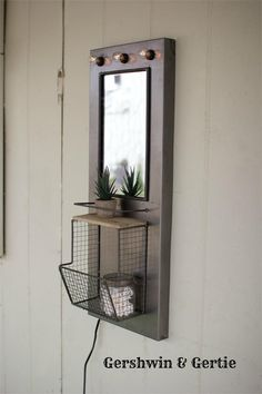 Industrial Metal Mirror with Marquee Lighting, Shelf and Wire Basket.