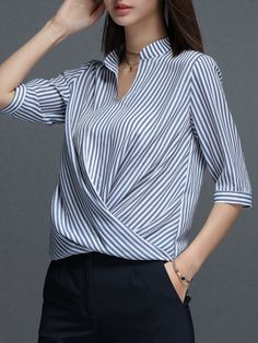 #AdoreWe #StyleWe Blouses❤️Designer ROEYSHOUSE Half Sleeve Stripes Casual Stand Collar Blouse - AdoreWe.com