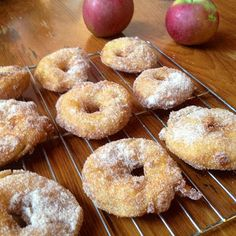 the best fall treat - apple fritter rings with cinnamon sugar coating!