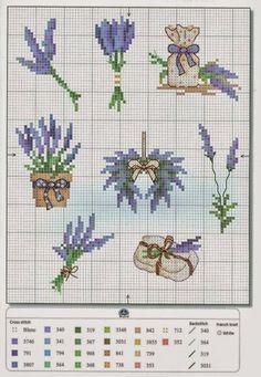 A few cross stitch patterns dedicated to lavender Cross Stitch Boards, Mini Cross Stitch, Cross Stitch Flowers, Cross Stitching, Cross Stitch Embroidery, Embroidery Patterns, Hand Embroidery, Cross Stitch Designs, Cross Stitch Patterns