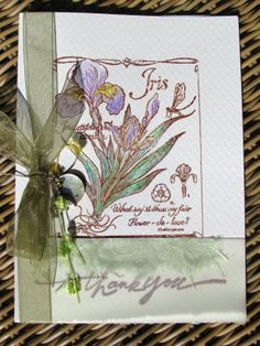 Iris Spring Asian Cards, Hand Stamped Cards, Iris, Spring, Bearded Iris, Irises