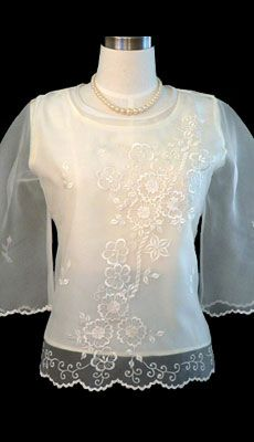 The demure appeal is perfect on this sweet organza #blouse. With bell sleeves and #embroidered floral #design give this top a feminine fit. #Dress it up with a skirt or pair it with black dress pants for a style.
