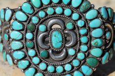 Large Vintage Southwestern Tribal Sterling Silver Turquoise Rosette Bracelet   eBay