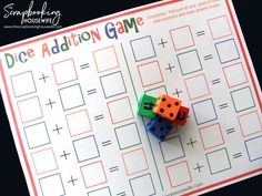 The Scrapbooking Housewife: Dice Addition Game for Kids - Free Printable Math Multiplication Games, Fun Math, Math Activities, Therapy Activities, Maths, Educational Activities, Fractions, Math Addition Games, Teaching Addition